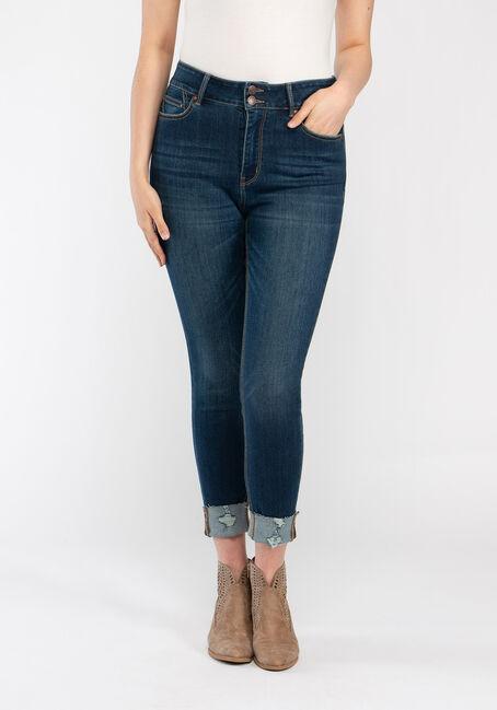 Women's 2 Button High Rise Cuffed Skinny Crop