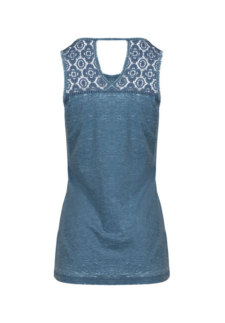 Women's Dreamcatcher Lace Insert Tank, TEAL, hi-res
