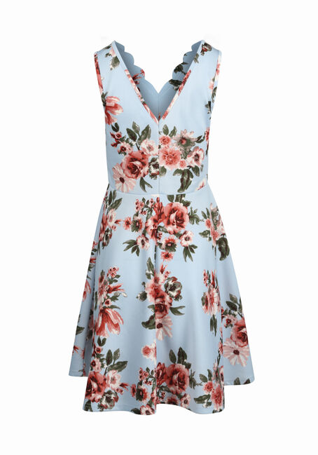 Women's Rose Floral Fit & Flare Dress, BLUE, hi-res