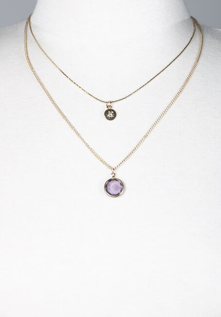 Women's Layered Pendant Necklace, GOLD, hi-res