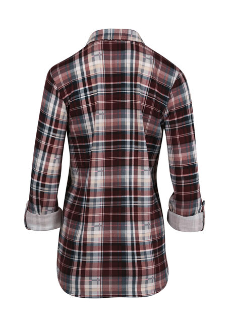 Women's Relaxed Fit Knit Plaid Shirt, DK ROSE, hi-res