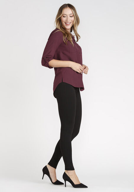 Women's Henley Blouse, WINE, hi-res