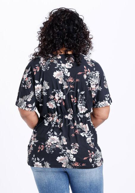 Women's Floral Twist Front Top, BLACK, hi-res