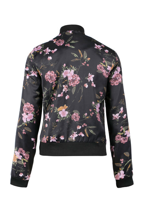 Ladies' Floral Bomber Jacket, BLACK, hi-res