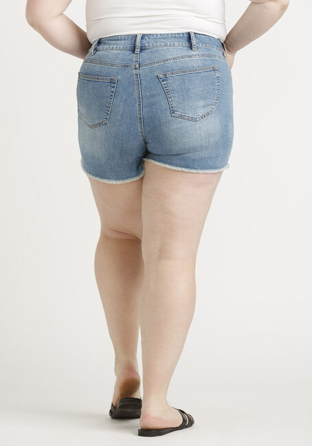 Women's Plus High Rise Vintage Frayed Hem Short, MEDIUM WASH, hi-res