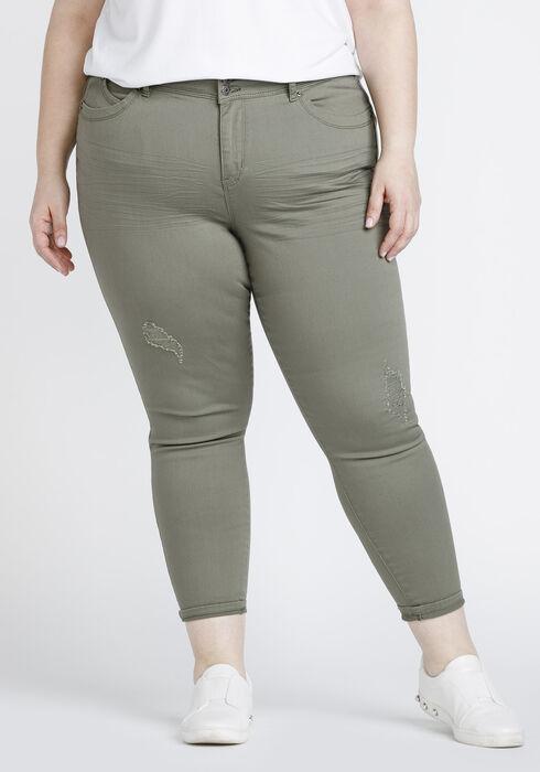 Women's Plus Size Distressed Skinny Crop, DARK OLIVE, hi-res