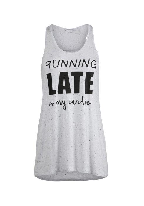Ladies' Running Late Cardio Tank, WHITE, hi-res
