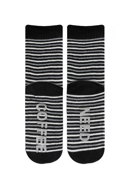 Ladies' Need Coffee Lounging Socks, BLACK, hi-res