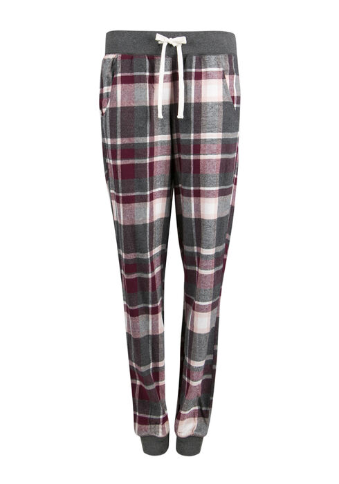 Ladies' Plaid Jogger, BURGUNDY, hi-res