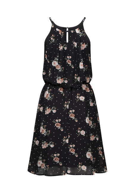 Women's Floral Blouson Dress, BLACK, hi-res