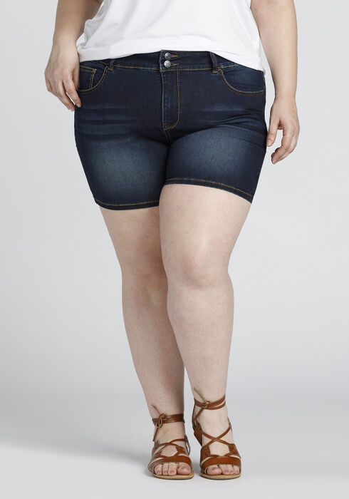 Ladies' Plus Size Mid Length Short, DARK WASH, hi-res