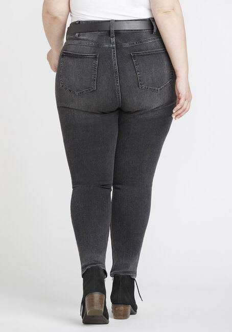Women's Plus Size Washed Black High Rise Skinny Jeans, DENIM, hi-res