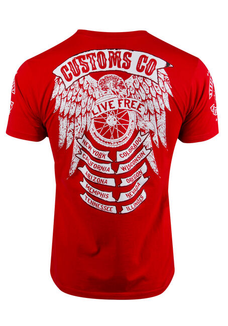 Men's Live Free Tee, RED, hi-res