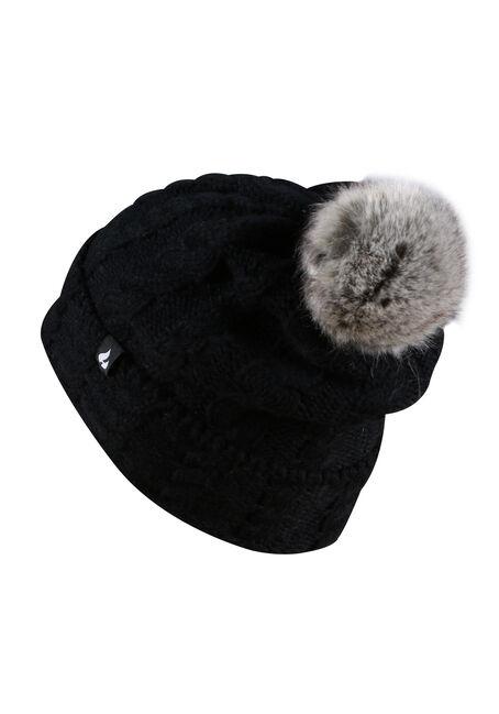 Ladies' Thermal Pom Pom Hat, BLACK, hi-res