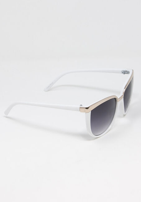 Women's Gold Brow Bar Sunglasses, WHITE, hi-res
