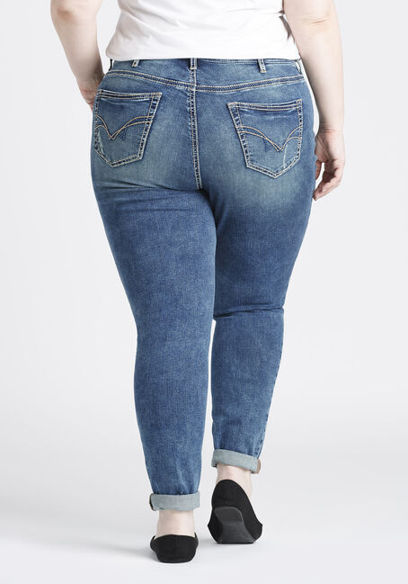 Women's Plus Size Girlfriend Jeans, DARK WASH, hi-res