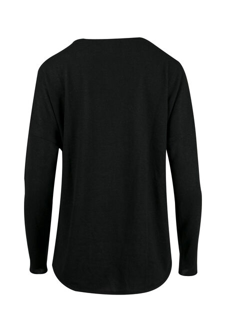 Ladies' Wrap Front Top, BLACK, hi-res