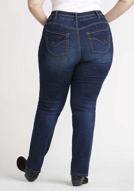 Women's Plus 2 Button Dark Straight Jeans, DARK WASH, hi-res