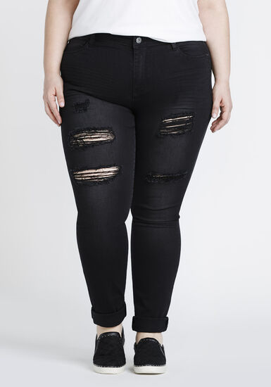 Women's Plus Size Black Ripped Skinny Jeans, BLACK, hi-res