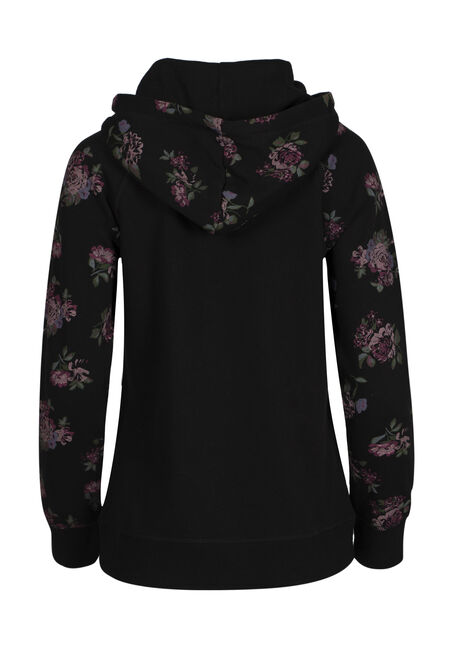 Ladies' Floral Zip Hoodie, BLACK, hi-res