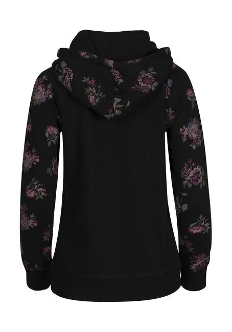 Ladies' Floral Zip Hoodie, BLACK, hi-res