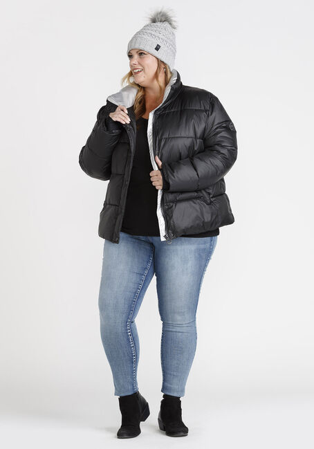 Women's PLUS Puffer Jacket, BLACK, hi-res