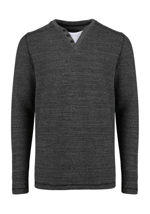 Men's Fooler Henley Sweater, CHARCOAL, hi-res
