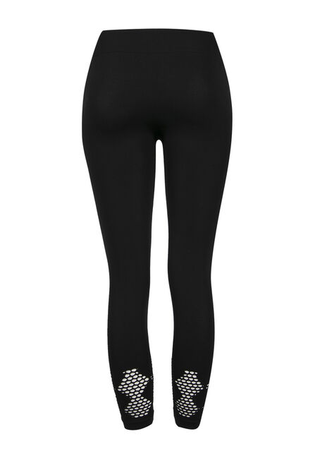 Ladies'  Mesh Bottom Capri Legging, BLACK, hi-res
