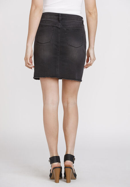 Women's Exposed Button Frayed Hem Skirt, BLACK, hi-res