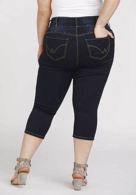 Women's Plus Size 3-Button Dark Wash Capri, DARK WASH, hi-res