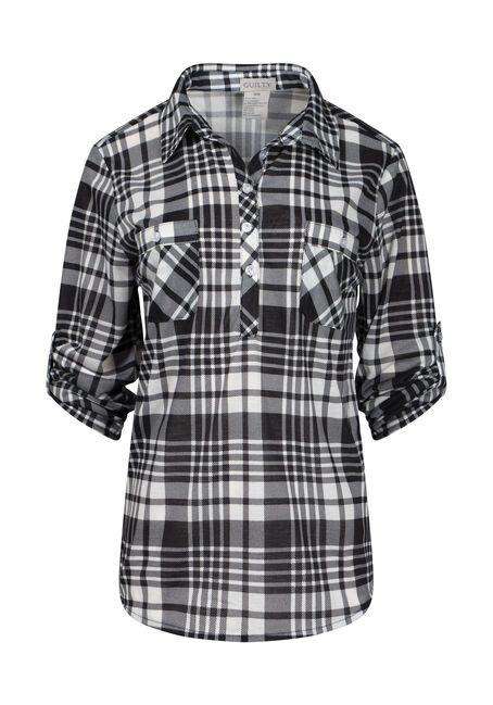 Women's Half Button Knit Plaid Shirt