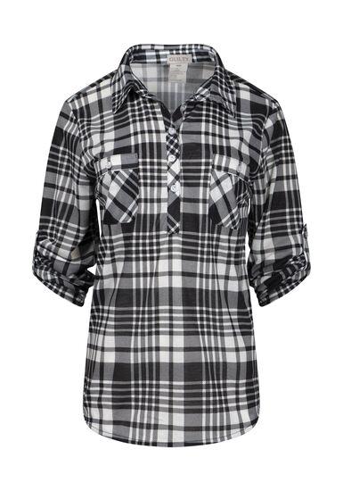 Women's Half Button Knit Plaid Shirt, BLK/WHT, hi-res