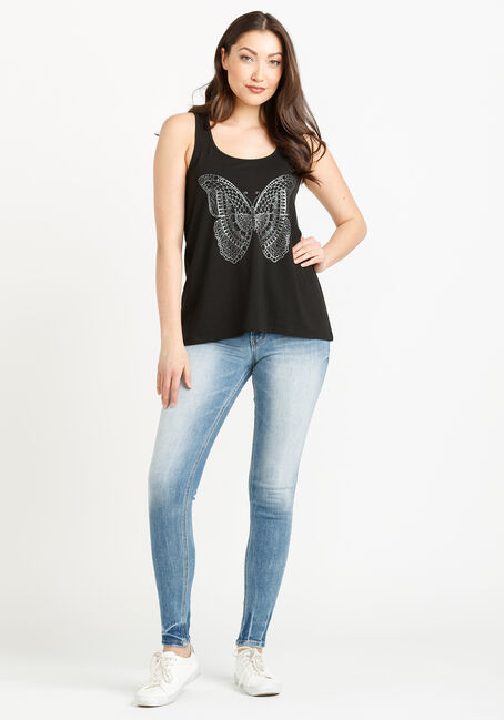 Women's Butterfly Keyhole Tank, BLACK, hi-res