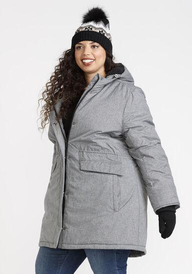 Women's Hooded Anorak Jacket, TEXTURED GREY, hi-res