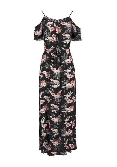 Women's Floral Cold Shoulder Maxi Dress, BLACK, hi-res