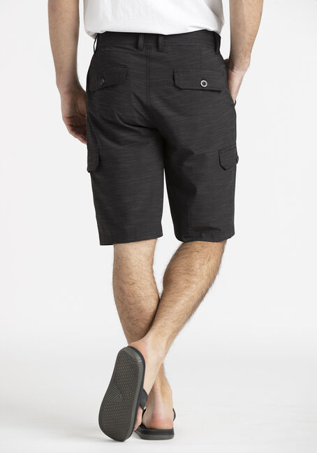 Men's Textured Cargo Hybrid Shorts, BLACK, hi-res