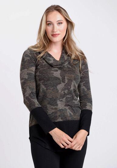 Women's Camo Cowl Neck Top, OLIVE, hi-res