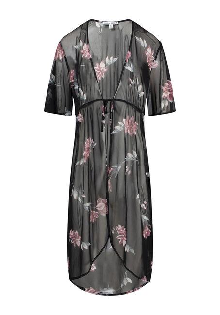 Women's Floral Mesh Duster Kimono