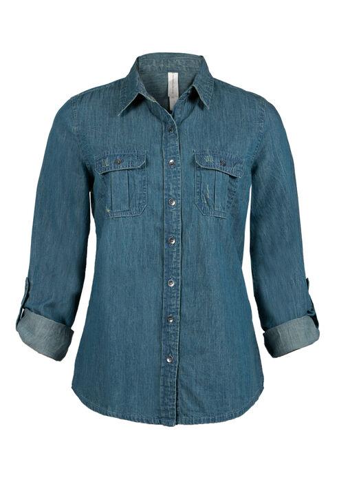 Ladies' Denim Shirt, MEDIUM WASH, hi-res