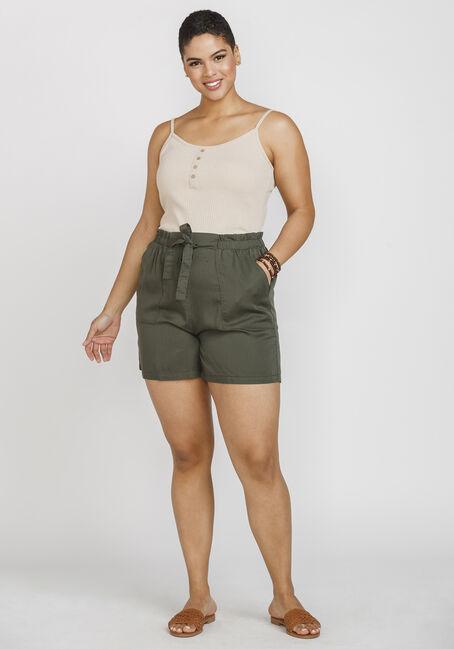 Women's Faux Henley Rib Tank, OATMEAL, hi-res