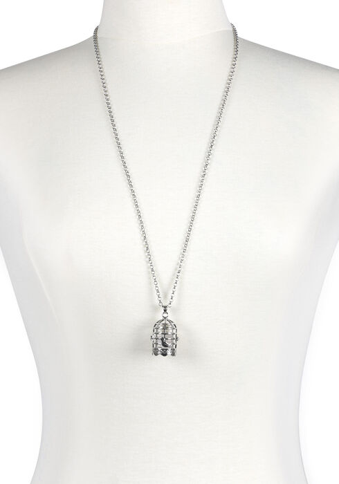 Women's Birdcage Necklace, RHODIUM, hi-res
