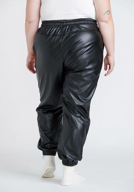 Women's Plus Size High Rise Faux Leather Jogger, BLACK, hi-res