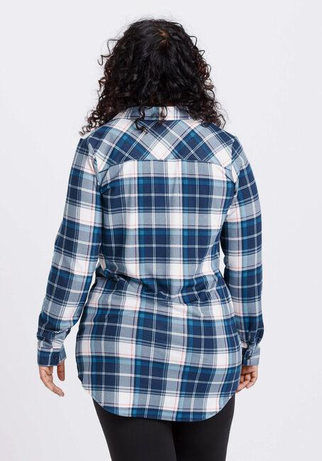Women's Knit Plaid Tunic Shirt, TEAL, hi-res