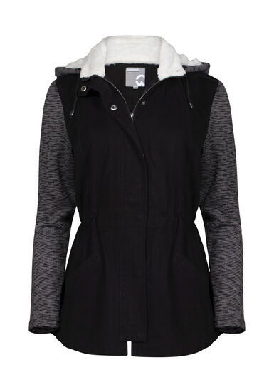 Women's Hooded Utility Jacket, BLACK, hi-res