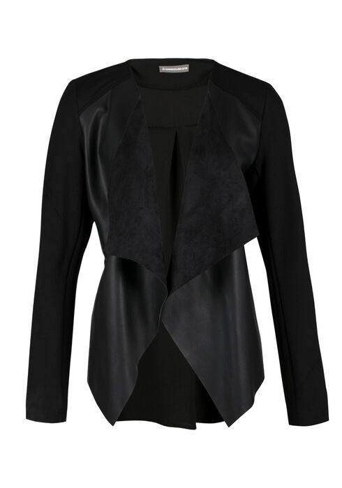 Ladies' Drape Front Jacket, BLACK, hi-res