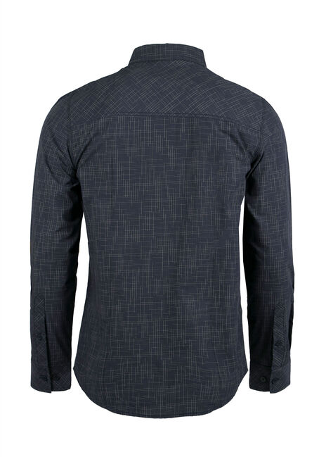 Men's Linear Pattern Shirt, NAVY, hi-res