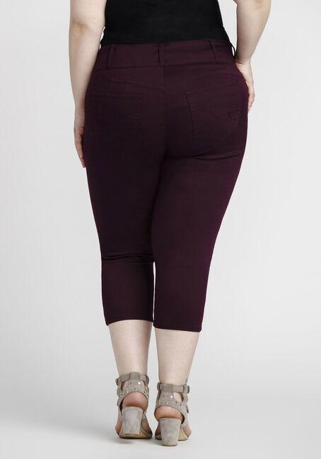 Women's Plus Size Coloured Skinny Capri, BURGUNDY, hi-res