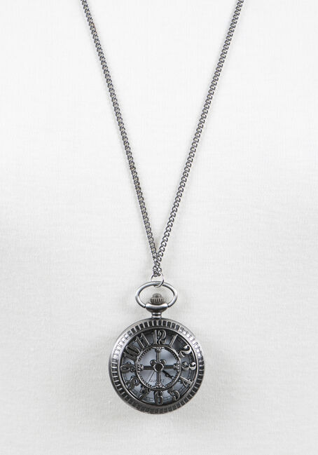 Ladies' Pocket Watch Necklace, RHODIUM, hi-res