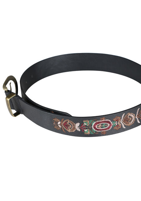 Ladies' Embroidered Belt, BLACK, hi-res