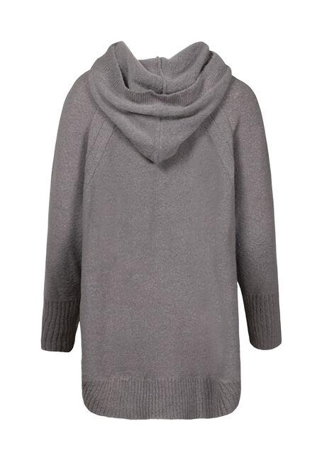 Women's Hooded Tunic Sweater, GREY MELANGE, hi-res